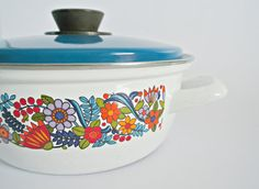 Floral Enamelware Casserole Dish 1970's by SheAdoresVintage, $25.00