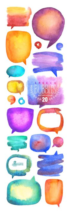 Speech Bubbles Watercolour: 20 files Digital by OctopusArtis