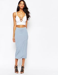 ASOS Column Pencil Skirt in Jersey with Seam Detail
