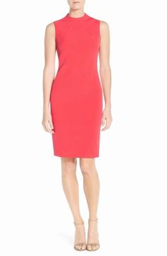 Mock Neck Crepe Sheath Dress $110 Eliza J