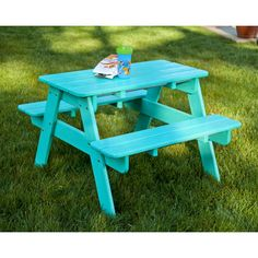 Your kids will enjoy having a table for themselves with this POLYWOOD Kids' Picnic Table. It is designed just like a regular picnic table, but sized for kids and has durable weather-resistant POLYWOOD recycled lumber construction that never need painting. Toddler Picnic Table, Picnic Table With Umbrella, Plastic Picnic Tables, Outdoor Picnic Tables, Outdoor Play, Outdoor Ideas, Outdoor Dining, Outdoor Spaces, Polywood Outdoor Furniture