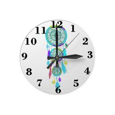 Girly pastel teal blue cute Dreamcatcher Clock