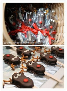 Christmas Reindeer Bites - this site doesn't lead you to anywhere but the photo. Looks like the reindeer is made from a nutter butter cookie with stick inserted and dipped in chocolate. I love the packaging idea.