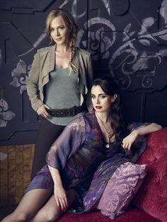 Julie Benz as Amanda Rosewater, Mia Kirshner as Kenya Rosewater in Defiance