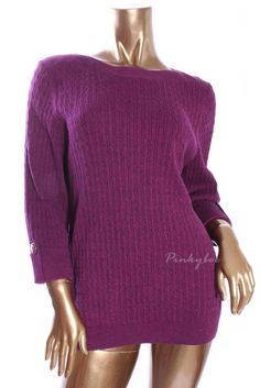 KAREN SCOTT Womens New Boat Neck 3/4 Sleeve Cable Knit Sweater Size XL #KarenScott #BoatNeck