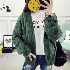 New Fashion Lady Female Women's Twist Braid Spring Autumn Loose Casual Knitting Coat Sweater Coarse Knit Jumper Cardigan Jersey
