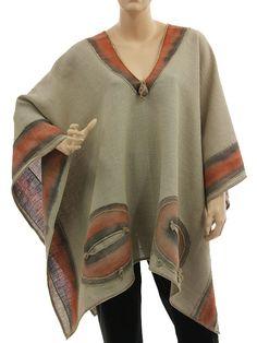 Boho artsy wide linen poncho overtop in dark nature S-XXL - Artikeldetailansicht - CLASSYDRESS Lagenlook Art to Wear Women's Clothing
