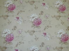 Cerise pink flowers on linen curtain fabricbr /Images on screen cannot do the quality of this material justice. To see it fully please order a sample.