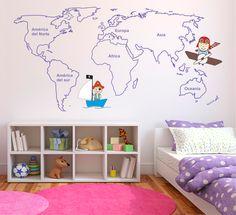 Vinilo decorativo de un mapamundi infantil.