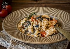 Risotto with olives and cherry tomatoes