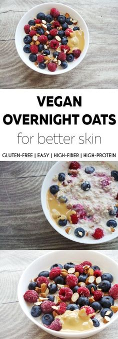 Vegan overnight oats by Beauty Bites: a very tasty easy, quick and healthy breakfast recipe you can make the night before. It's gluten-free if you use gluten-free oats, antioxidant-rich, high-fiber and high-protein, heart-healthy and also good for your skin!