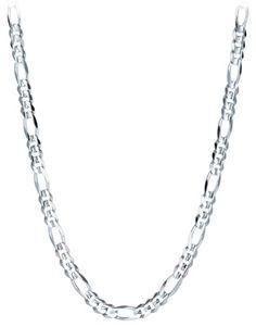 "$635 : Men's 14k White Gold 2.2mm Figaro Chain Necklace, 24"""