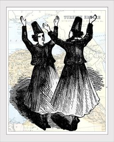 Turkish Cypriot Whirling Dervishes Dancers in a black and white giclee print. Victorian era art illustration of a traditional Turkish dancing.