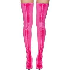 Balenciaga Pink Knife Over-the-Knee Boots (€1.215) ❤ liked on Polyvore featuring shoes, boots, above the knee boots, over the knee boots, stretch boots, over-knee boots and leather sole boots