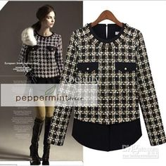 ASLI IMPORT! Autumn Winter Long Sleeve Round Collar Plaid Patchwork Casual Blouse