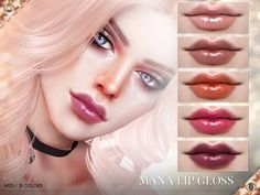 Sticky, glossy lips in 15 colors.  Found in TSR Category 'Sims 4 Female Lipstick'