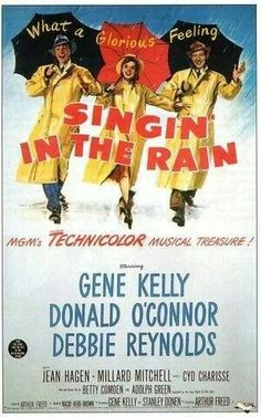 """""""Singing in the Rain"""" movie poster. I've seen this one on the list, but the hubby hasn't. . ."""
