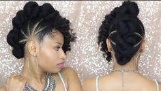 Bad azz bun-hawk updo ➟ natural hair tutorial - everything n Natural Hair Tutorials, Natural Hair Updo, Natural Hair Styles, Hairstyle Tutorials, Natural Curls, Black Hair Care, Black Hair Mohawk, Natural Hair Inspiration, Crochet Hair Styles