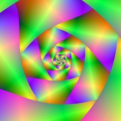 A digital abstract fractal image with a spiral design in green, yellow, pink and violet by Objowl.