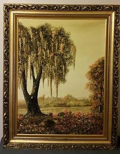 details about oil relief painting on canvas embossed tree signed suarez 48x24 gold frame 1972