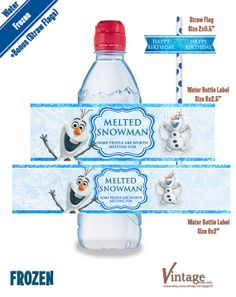 Disney Frozen Birthday Party - Water Bottle Wrappers & Bonus: Straw Flags Images digital file girl boy DIY Olaf Sven Anna Elsa Hans Kristoff