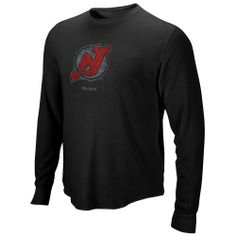 Reebok New Jersey Devils Black Faded Logo Long Sleeve Thermal T-shirt by Reebok. $34.95. Stay warm while rocking your Devils pride with this Faded Logo thermal tee by Reebok!Lightweight thermal t-shirtDistressed screen print graphicsRib-knit collarWaffle fabricImported60% Cotton/40% PolyesterOfficially licensed NHL product