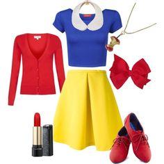 DIY Snow White Costume (apple necklace and collar) Homemade Halloween Costumes, Disney Halloween, Halloween Diy, Snow White Outfits, Diy Snow White Costume, White Costumes, Costumes For Teens, Disney Costumes, Disney Dresses