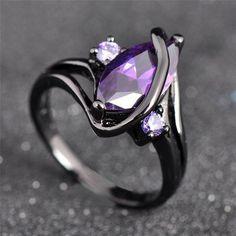 Black Gold Filed Amethyst Sapphire Ring