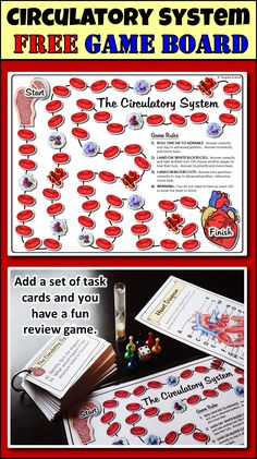 With this game board, you can turn any set of   circulatory system task cards or questions into a fun review game.  Just add dice and game pieces.  Students will love playing it.