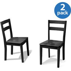 For table- buy 3 sets of 2. Mainstays Set of 2 Parsons Dining Chairs, Black