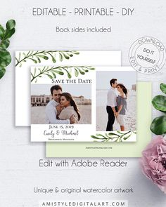 Printable Save the Date Photocard, with lovely and elegant watercolor greenery design, which fits your rustic winter wedding themeThis stunning save the date photo card template is an instant download EDITABLE PDF so you can download it right away, DIY edit and print it at home or at your local copy shop by Amistyle Digital Art on Etsy