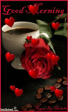 Good Morning love quote hearts friend good morning red rose greeting morning quote