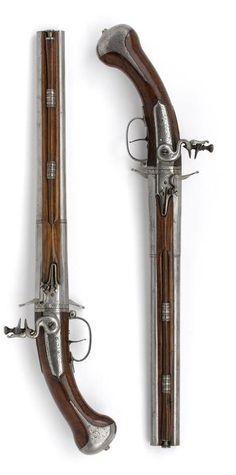 Four Loops flint gun with swivel walking manufactured by Jan Ceule Utrecht, circa 1660-1665