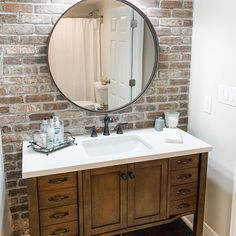White Bathroom Tiles, Small Bathroom, Bathroom Ideas, Round Bathroom Mirror, Master Bathroom, Farmhouse Bathroom Mirrors, Bathroom Laundry, Master Room, Basement Bathroom