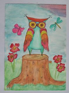 Owl on canvas (original painting) via Etsy.