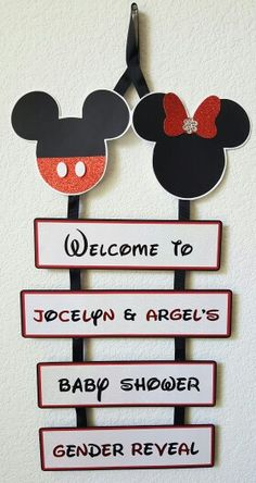 Personalized Disney Mickey and Minnie Gender Reveal Baby Shower Door Sign made by yours truly!