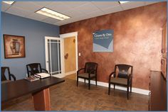 Metallic faux finish over faux leather. Makes a stunning focal wall in this executive office at Carpets by Otto in Perrysburg, OH. Where your vision today becomes the lifestyle you love forever! - Portfolio - Offices - Blissfield, MI