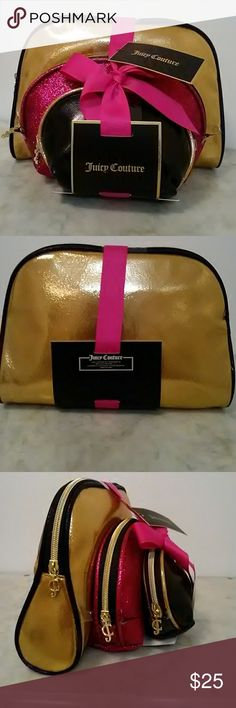 JUICY COUTURE 3 PC. BAG SET! ELEGANT 3 PC. SET. THIS ONE FEATURES A LARGE GOLD SHIMMERY BAG, MEDIUM PINK SPARKLY BAG & SMALL BLACK BAG. NICELY SIZED. BRAND NEW WITH TAGS. BEAUTIFUL GOLDTONE HARDWARE & JC ZIPPER PULLS. COMPLETE WITH A PRETTY PINK BOW & READY FOR GIFT GIVING! Juicy Couture Bags Cosmetic Bags & Cases