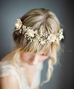 Boho Gold Halo Hair Wrap, Gold Hair Wreath, Silver forehead band, Gold Wedding Flower Hair Vine, Boho Wedding Headpiece - 'VALENTINA'