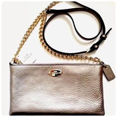 """CrossBody Leather Coach Bag✨ This bag is so beautiful ! New without tags. More pics coming soon Leather. Inside open pockets. Zip Closure, Fabric Lining. Outside open Pocket. Strap with 22 3/4"""" Drop for shoulder or CrossBody wear. 8 1/2"""" (L) x 4 3/4"""" (H) x 3/4"""" (W). Coach Bags Crossbody Bags"""