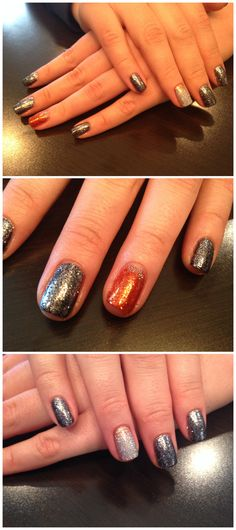 Halloween Shellac. Orange, black, dark silver and holographic sparkles for a fun and happy Halloween nail look!