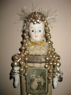 Bald is Beautiful / Queen of Everything - Save The TaTa's - Wall Doll -  Assemblage. via Etsy.