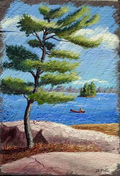 "Peace of Paradise  - Original Painting. Canoe & Pine Tree Medium: Acrylic/antique barn board Size: 10-1/2"" X 15""  ""As I painted this I could actually remember what a joy it is to paddle on a quiet lake with the sun creating a warmth on my back, while I take in the beauty around me."" - Sandra Follis"