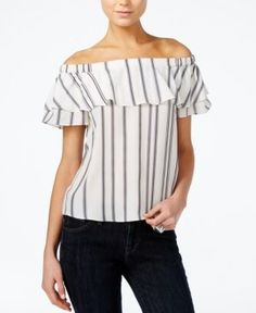 Armani Exchange Off-The-Shoulder Striped Top  -