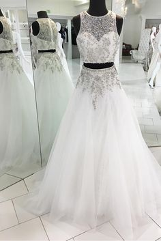 Sparkly Two Piece White Long Prom Dress, 2018 White Long Prom Dress