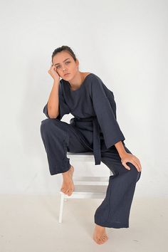 Pure Linen tunic and pants set  Charcoal blue от pureWHITEspa