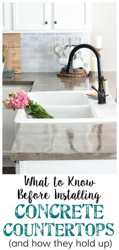 What to know before installing concrete countertops - the pros and cons, how they hold up over time, and how to install them for an inexpensive update. Home Decor Catalogs, Home Decor Store, Cheap Home Decor, Diy Home Decor, Room Decor, Kitchen Redo, New Kitchen, Kitchen Ideas, Kitchen Makeovers