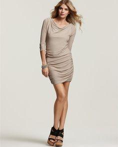Jersey version of a bubble hem :) Theory Beige Lavia Flouncy Jersey Long Sleeve Dress