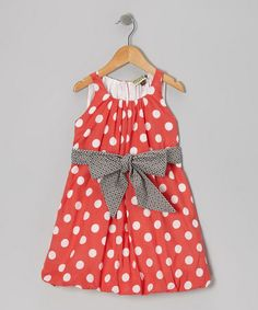 Red Polka Dot Bubble Dress - Girls by Sophie Catalou #zulily #zulilyfinds