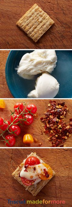 This perfect party appetizer features our favorite ingredients. Melted mozzarella, sweet cherry tomatoes, and a touch of chili flakes all combined on our favorite Triscuit cracker. It's simple ingredients that when paired together really spice up our life. The mozzmatochiliscuit — also known as the fire that burns within. For more snacking inspiration, check out our Triscuit boards.